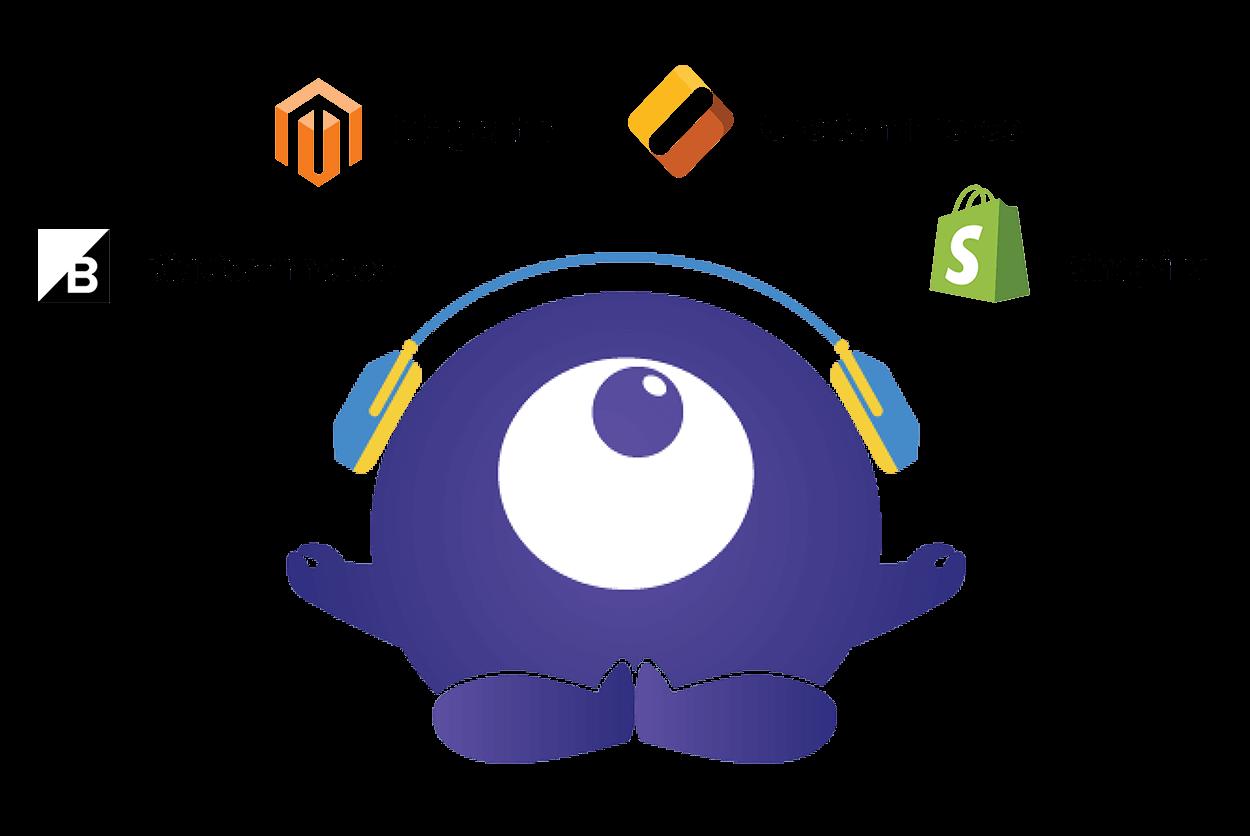 Rozoyo mascotte Zoy surrounded by ecommerce platform logos